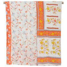 Vintage Kantha Throw Blanket - Orange October