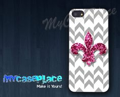 Pink Glitter Fleur De Lis with Chevron Phone Case for Iphone 4/4S/5 and Samsung Galaxy S3/S4