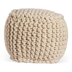 Check out this item at One Kings Lane! Vivian Knitted Pouf, White