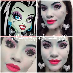 Here is a look I did based on Frankie Stein from Monster High. Great look for Halloween. Creepy Halloween Costumes, Halloween Rocks, Halloween Make Up, Halloween Party, Halloween Face Makeup, Monster High Makeup, Monster High Party, Pop Art Makeup, Sfx Makeup