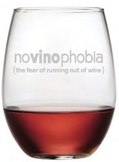 NoVinoPhobia Stemless Wine Glasses - Set of 4 NoVinoPhobia - The fear of running out of wine! Keep your glass filled and you won't need to worry about this phobia! Beautifully sand etched by hand, the