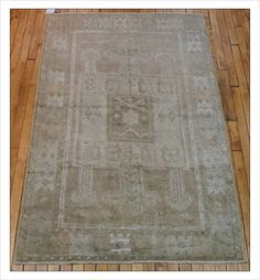 A calm and subtle vintage rug! Small 3.8 x 5.9 Oushak (#r1223) at JDOrientalRugs.com