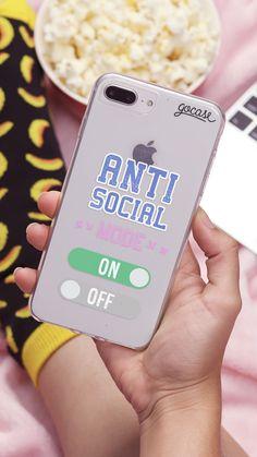 Capinha para celular Antisocial Mode, acessório, pipoca, meias, computador, gocase, acessório, celular, mode, on, off, cama, banana, twitter, meme, hashtag