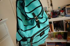 blue and black striped backpack. Tumblr Quality, Striped Backpack, Back Bag, Cute Backpacks, Cute Bags, Everyday Look, Fun To Be One, Clutch Wallet, Wearing Black
