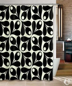 Cheap Orla Kiely Inspirate patern black Shower Curtain
