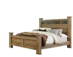 Habitat Rustic Mossy Oak Wood Queen Poster Bed