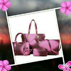 6pc Women's Bag set w/ Weaving Design Package Contents:  1 x Shoulder Bag, 1 x Tote Bag, 1 x Cross body Bag, 1 x Wallet, 1 x Clutch Bag, 1 x Key Bag Fashionable Women's Shoulder Bag With Metallic and Weaving Design    Bags