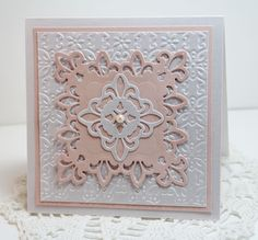 handmade card ... Dream in Color...layers of pale pink and white ... die cuts and embossing folder ... sweet!!