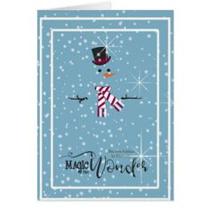 Magic and Wonder Christmas Snowman Blue ID440 Card - Xmas ChristmasEve Christmas Eve Christmas merry xmas family kids gifts holidays Santa