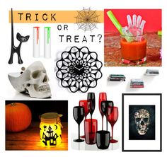 """Trick or treat?"" by redcandyuk ❤ liked on Polyvore featuring interior, interiors, interior design, home, home decor, interior decorating, Umbra, Suck, Koziol and Halloween"