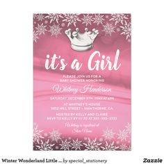 Winter Wonderland Little Princess Girl Baby Shower Card Winter theme girl baby shower invitations featuring an pink background, sparkling white snowflakes, silver crown and an personalized baby shower template.