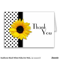 Sunflower Black White Polka Dot Wedding Thank You Card