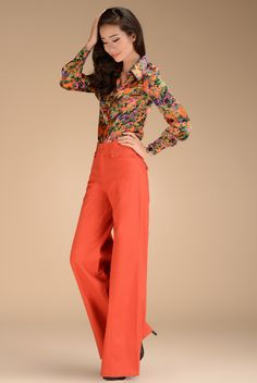 2013 Fashion Formal Womens High Waist Linen Orange Trousers , Fall Wide Leg Bell Bottom Dress Pants For Women , Woman Culottes -inPants & Ca...