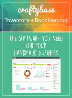 Craftybase inventory and bookkeeping accounting software tracks your materials and products, calculates COGS, logs your expenses and keeps your pricing on track. Everything you need for handmade business success in one tidy, cost effective package. Bookkeeping Software, Business Software, Accounting Software, Business Marketing, Business Planning, Business Tips, Online Business, Doula Business, Etsy Business