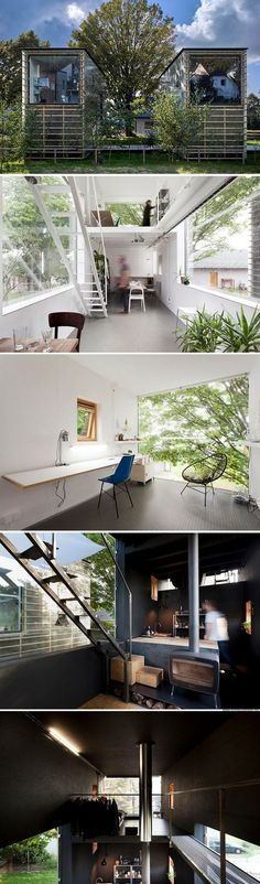 The Zen Houses: one's a home and the other is an office! You could do this with shipping containers.