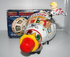 Masudaya Modern Toys Japan 70's Apollo Spacecraft in box Battery Operated 10 inches (25 cm) original tin toy space ship