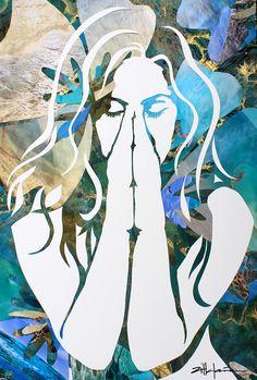 "Original Art , Female Figure -  Collage Paper ""Island Dream"" by Marcy Ann Villafaña  ""ISLAND DREAM"" 28"" x 40"" papers 2012  www.VillafanaArt.com Kate Shaw, Mosaic Art, Quilling, Moose Art, Original Art, Ann, Fiber, Collage, Island"