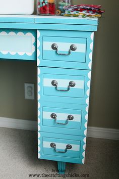 scallops and stripes sewing table makeover. Love the designs for a kids' desk