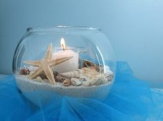 Seashell and white sand with candle in large aquarium bowl or terrarium. Perfect idea for any beach theme decor or room.