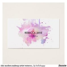 chic modern makeup artist watercolor purple grunge business card
