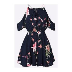 Yoins Lace-up Square-neck Random Floral Print Playsuit in Navy ($19) ❤ liked on Polyvore featuring jumpsuits, rompers, yoins, navy blue romper, blue romper, navy romper, cutout romper and short sleeve romper