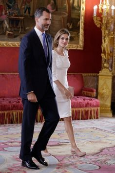 Spanish King Felipe VI and Queen Letizia receive President of Panama and his wife at the Royal Palace on 08.09.2014 in Madrid, Spain.