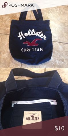 "Hollister tote bag Navy blue Hollister tote bag. 15""x15"" with 8"" handle drop. Small pocket inside. We added a zipper to secure valuables. Color is navy with white and maroon accents. No flaws Hollister  Bags Totes"