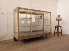 Glass Case S274アンティーク古い鉄脚の大きな木枠ガラスケース飾り棚 インテリア 雑貨 家具 Antique ¥30000yen 〆06月27日