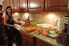 House Warming Party Decorations | Extended kitchen counters made for a perfect buffet for all the FOOD