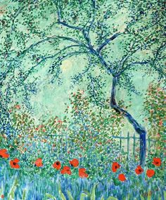 Poppies in Butler's Garden by Theodore Earl Butler | Lone Quixote | #TheodoreEarlButler #art #painting #flowers #arte #artwork #poppies #butler