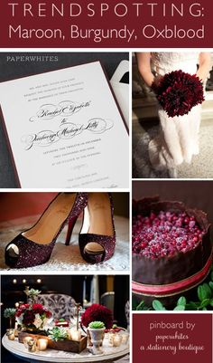 paperwhites wedding invitation oxblood merlot burgundy