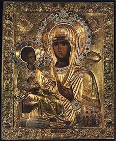 """""""Three-handed Theotokos"""" or simply """"Tricherousa"""" is a famous wonderworking icon in the Serb Orthodox monastery of Hilandar on Mount Athos, Greece. On the back of the icon is the painting of St Nicholas. Byzantine Icons, Byzantine Art, Religious Icons, Religious Art, Holy Art, La Madone, Religion, Black Jesus, Russian Icons"""