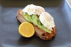 Perfect breakfast of fresh sourdough, avocado and poached eggs from the markets
