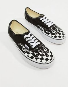d9f268cccc1b5b Vans Authentic Flame Sneakers In Black VA38EMRX8