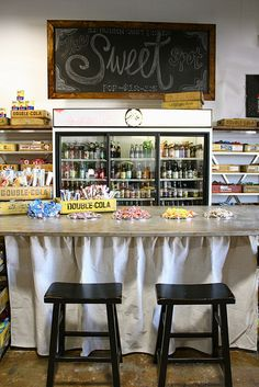 your own old-fashioned soda bar and candy shop - stools have to be chrome, though