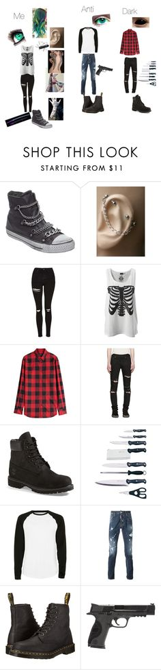 """Antisepticeye, darkiplier and me"" by kitanadt ❤ liked on Polyvore featuring Ash, Topshop, Victorinox Swiss Army, Dsquared2, Yves Saint Laurent, Timberland, BergHOFF, Topman, Dr. Martens and Smith & Wesson"