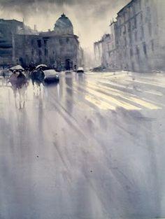 Manolo Jiménez Watercolor Artists, Watercolor Landscape, Watercolor Paintings, Watercolours, Art N Craft, Urban Landscape, Types Of Art, Installation Art, Animation