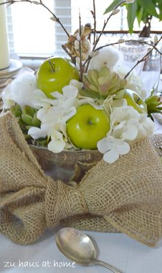 Green & White - Apples, flowers & cotton bolls all faux! Burlap and Green Apples Tablescape