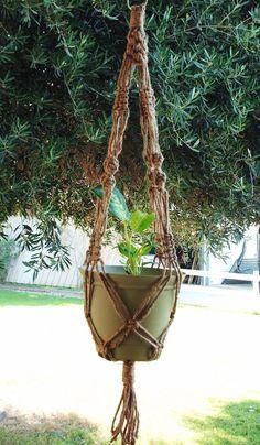 Macrame Plant Hanger Natural Jute Vintage Style by MacrameDesign, $12.50