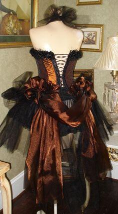 copper steampunk gown.