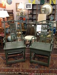 Gorgeous Pair of Teal Green Chinese Ming Style Chairs     $200 Each     $350 Pair