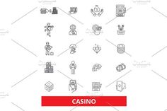 Casino, slot machine,poker,las vegas, roulette,gambling, dice line icons. Editable strokes. Flat design vector illustration symbol concept. Linear signs isolated on white background. Sport Icons