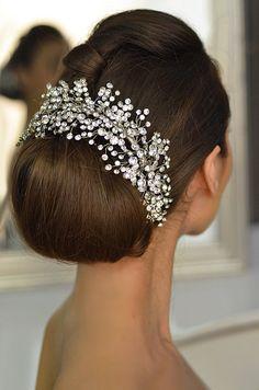 Classic Wedding Chignon with Crystal Bridal tiara