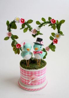 cheery bluebird wedding cake topper - SUPER cute :D