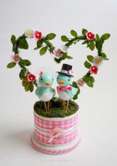 cheery bluebird wedding cake topper - SUPER cute :D