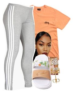 A fashion look from May 2017 featuring Stussy t-shirts, adidas activewear pants and NIKE sandals. Browse and shop related looks. Cute Lazy Outfits, Cute Swag Outfits, Chill Outfits, Dope Outfits, Casual Outfits, Summer Outfits, Girly Outfits, Teen Fashion Outfits, Teenager Outfits