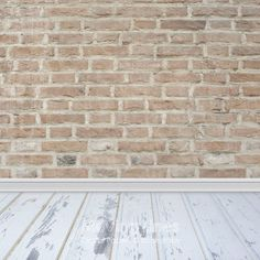 Brick Wall, Wood Floor Newborn Baby Photography Backdrop, Shabby White Floor  Drop, Party