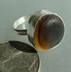 HL Sea Glass & Beach Glass Jewelry, earthy brown English Sea glass ring, handcrafted in fine silver and sterling silver.