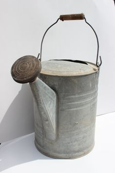 Large Vintage Metal Galvanized Watering Can Decor Buckets