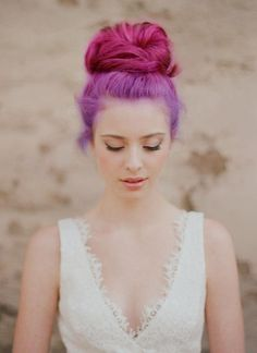 Pink & Purple Bun. Loving this stylish rainbow hair updo.